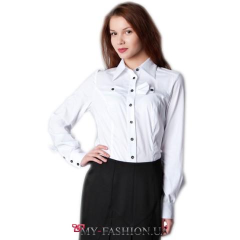 Белая офисная блуза с бантиками