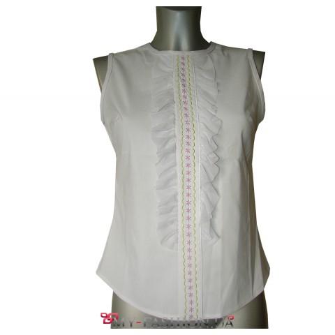 Белая хлопковая блузка без рукавов