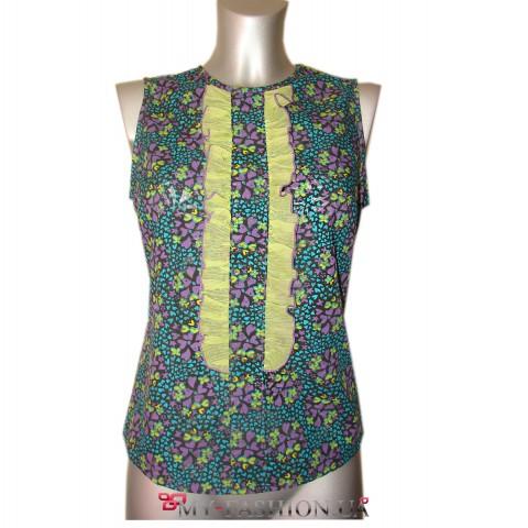 Блуза прямого силуэта с цветочным принтом