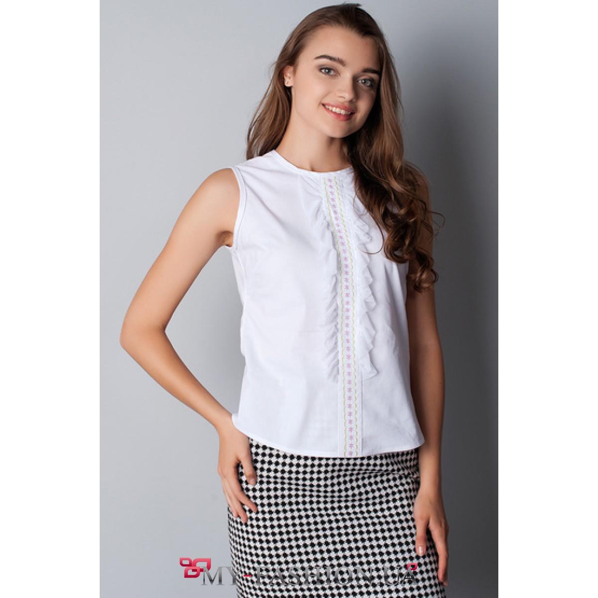 Где купить белую блузку без рукавов