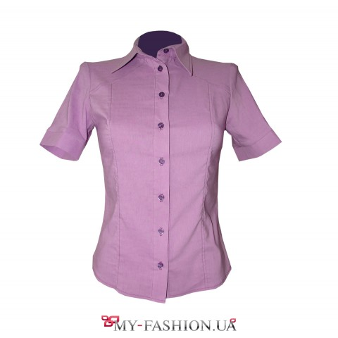 Классическая женская сиреневая рубашка
