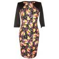 Платье в цветочек с комбинированной полочкой