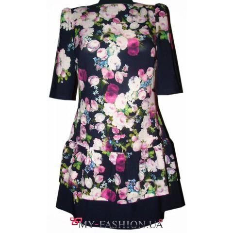 Короткое шифоновое платье с воланами