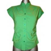 Зелёная женская рубашка с коротким рукавом