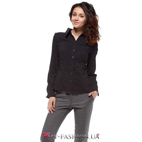 Женская рубашка чёрного цвета с длинным рукавом