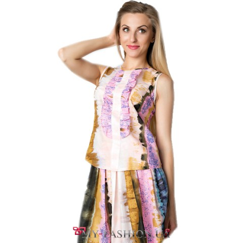 Блузка без рукавов приталенного силуэта