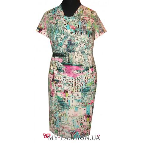 Бирюзовое платье-футляр большого размера