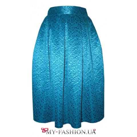 Женская юбка средней длины лазурного цвета