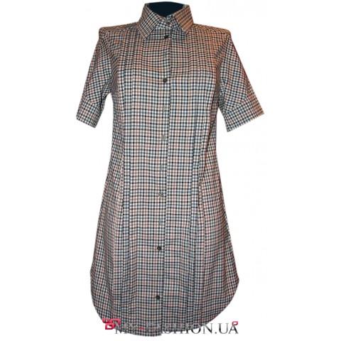 Клетчатое платье-рубашка из натурального хлопка
