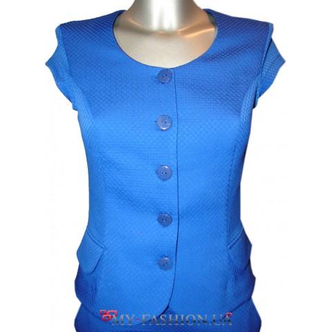 Женский синий жилет укороченной модели