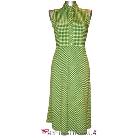 Клетчатое платье-сарафан из натурального хлопка