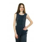 Синяя шифоновая блузка без рукавов