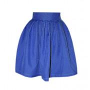 Короткая синяя юбка с крупными складками