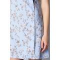 Голубое летнее платье из натурального льна