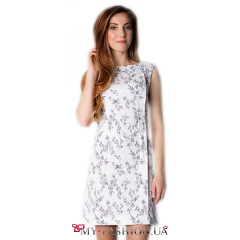 Белое летнее платье из натурального льна