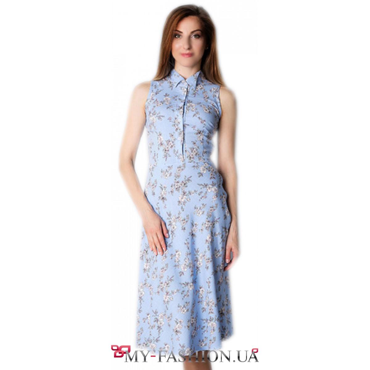 2998a68ea153 Голубое платье-рубашка из натурального льна купить в интернет ...