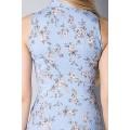 Голубое платье-рубашка из натурального льна