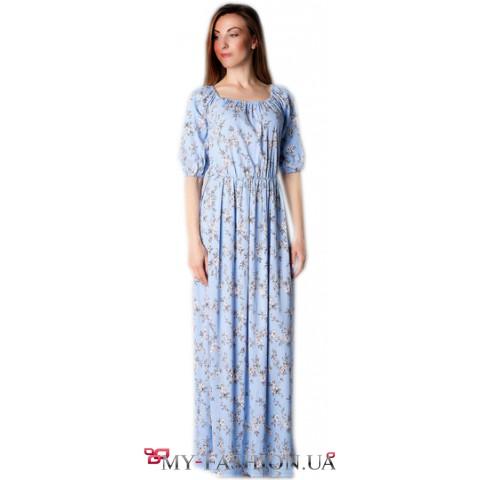 Восхитительное льняное платье максимальной длины