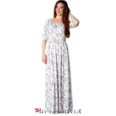 Длинное льняное платье в мелкий цветочек