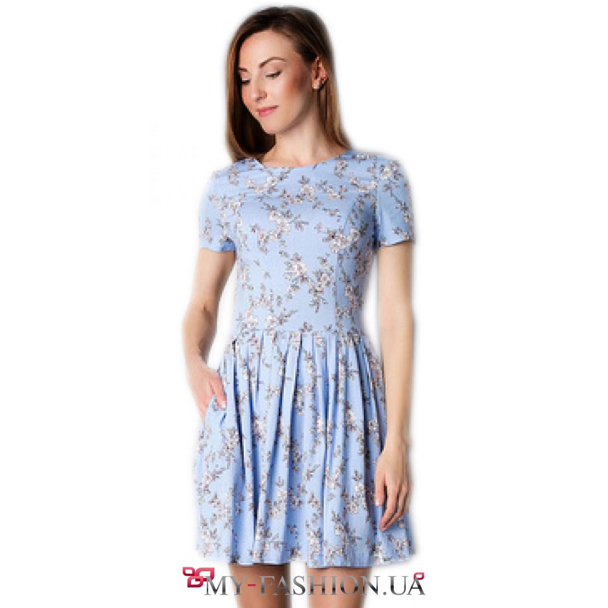 7bc3713a59b9921 Короткое льняное платье с цветочным принтом купить в интернет ...
