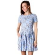 Короткое льняное платье с цветочным принтом