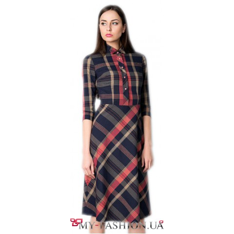 Клетчатое платье-рубашка из тончайшей шерсти