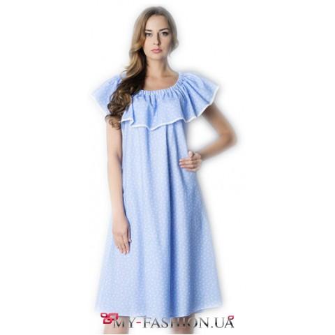 Голубое платье-сарафан с кружевной отделкой