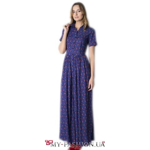 Длинное синее платье с цветочным принтом