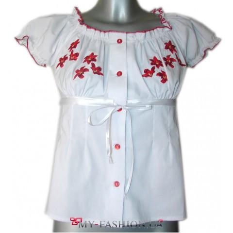 Женская рубашка-вышиванка с коротким рукавом