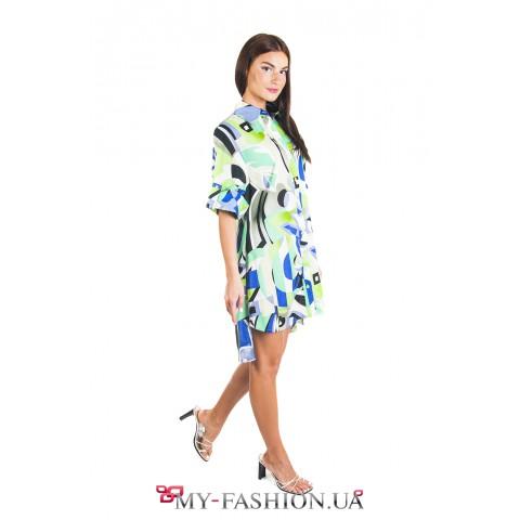 Платье- рубашка с короткими рукавами