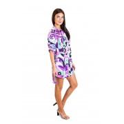 Яркое платье- рубашка с короткими рукавами