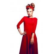 Длинное красное платье с карманами