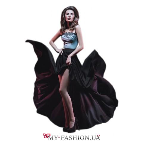 Длинная юбка из плотного шёлка с высоким поясом