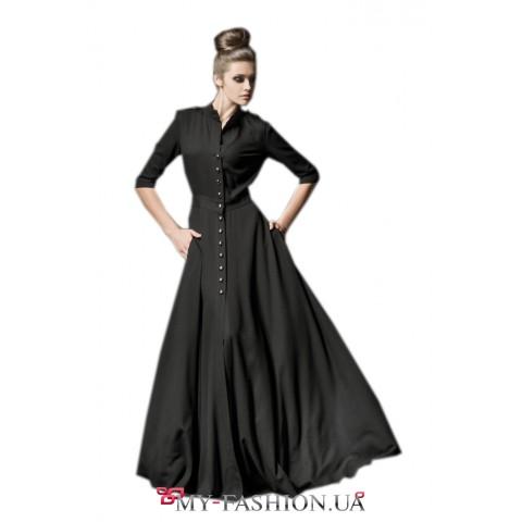 Длинное чёрное платье на пуговицах с карманами