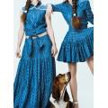 Женская хлопковая рубашка синего цвета