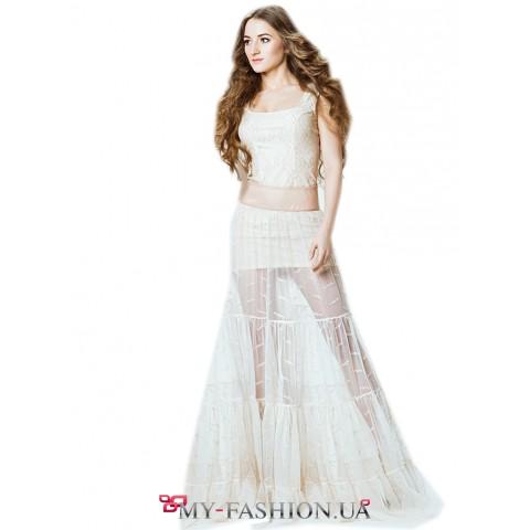 Воздушная юбка молочного цвета из мягкой сетки