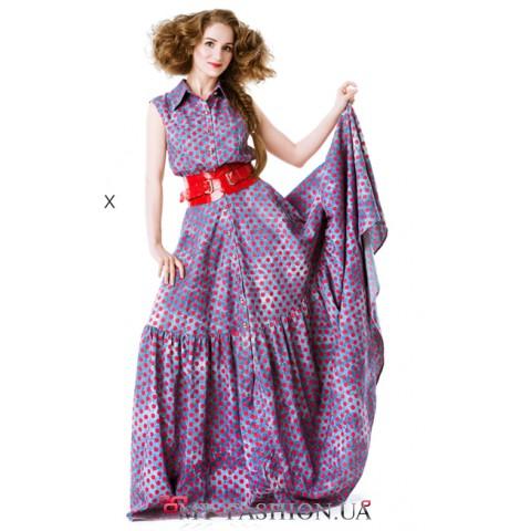 Длинное хлопковое платье на пуговицах