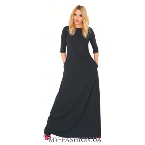 Длинное чёрное платье с аппликацией на спинке