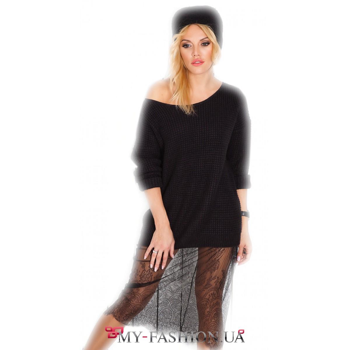 7886eab9db8 Тёплое вязаное платье с кружевом купить в интернет магазине в Киеве ...