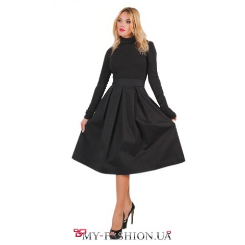 Комбинированное чёрное платье из хлопка и трикотажа
