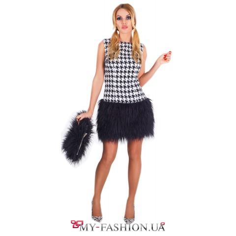 Дизайнерское короткое платье с мехом