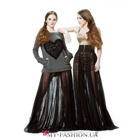Длинное платье из трикотажа с карманами