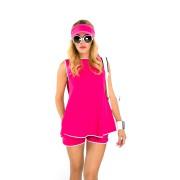 Пляжный костюм ярко-розового цвета