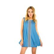 Нежно-голубое хлопковое платье-фонарик
