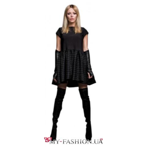 Комбинированное платье с пышной оборкой