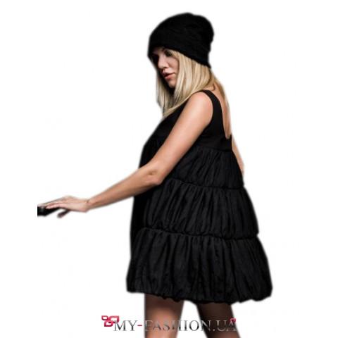 Вечернее платье-баллон из чёрного гипюра