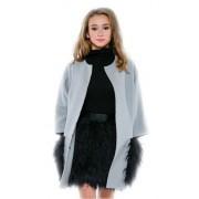 Привлекательное пальто прямого кроя дымчато-голубого цвета