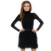 Черная меховая юбка мини длины