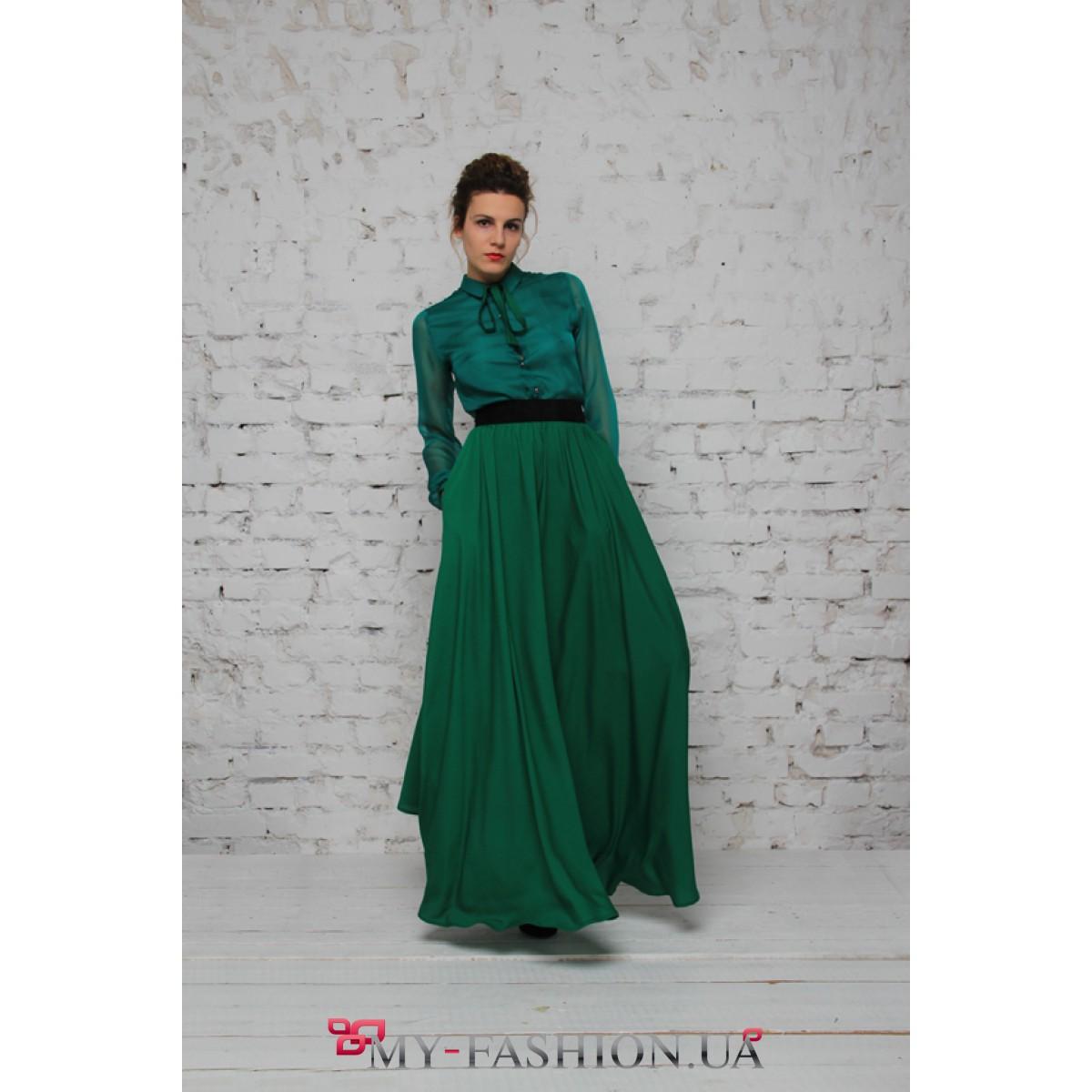 Двухцветное платье длинное