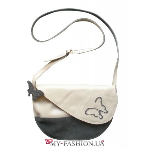 Женская кожаная сумка с бабочкой